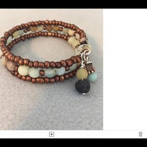 New Blue Amazonite and wood cuff diffuserbracelet